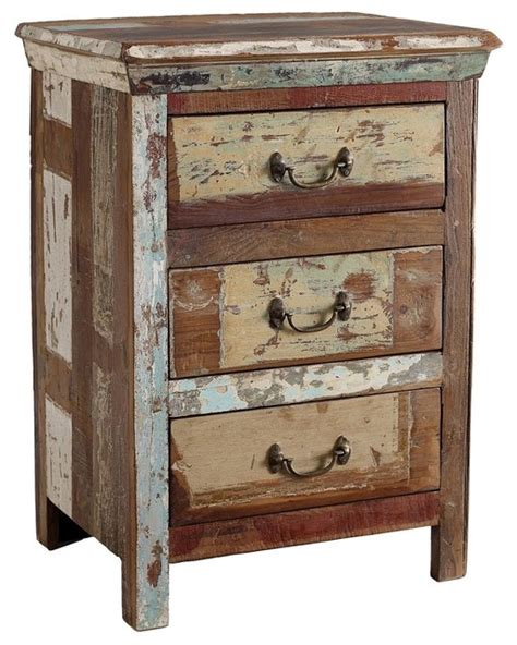 shabby chic 3 drawer side table eclectic nightstands