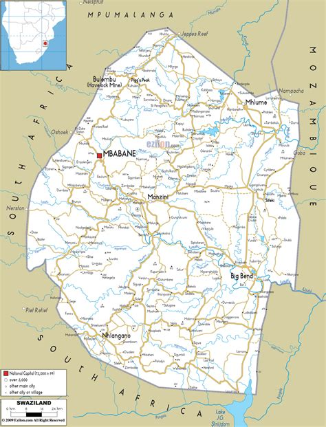 swaziland map large detailed road map of swaziland with all cities and airports vidiani maps of all
