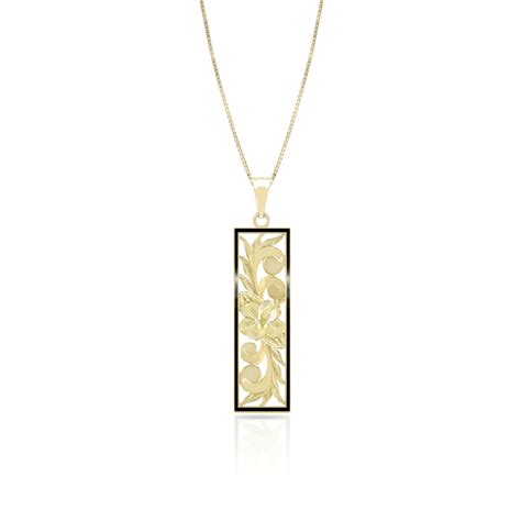 Cutout Pendant gold hibiscus vertical cutout pendant with black border
