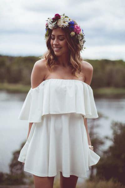 Dress Out Shouldersexy Dressshort Dressmini Dress bateau neck the shoulder sleeves flouncing designed solid white a line mini dress
