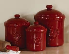 red ceramic canisters for the kitchen