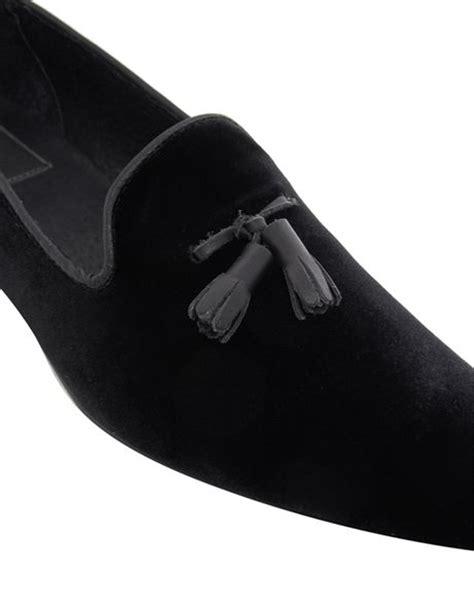 mens black velvet loafers asos tassel loafers in velvet in black for lyst