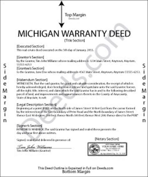 Michigan Warranty Deed Forms Deeds Com Michigan Warranty Deed Template