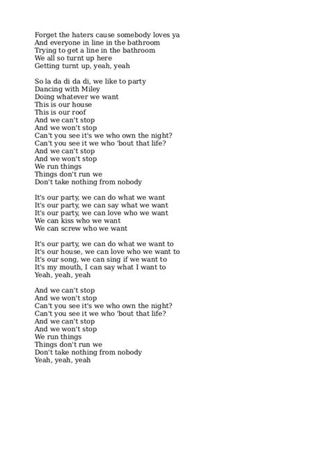 miley cyrus we cant stop lyrics miley cyrus we can t stop lyrics pdf