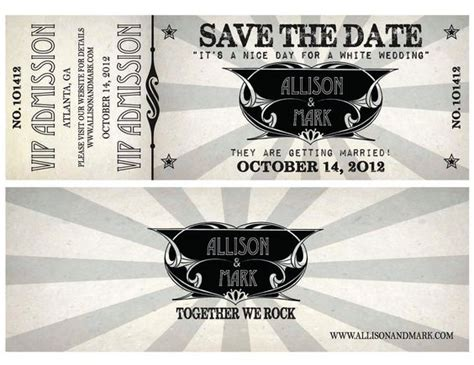 theme music vip printable concert ticket wedding save the date with vip