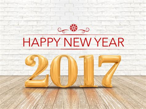 new year wood happy new year 2017 3d rendering gold color number on