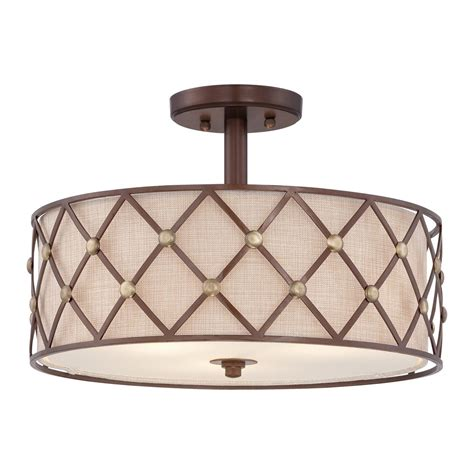 brown lattice semi flush fitting low ceiling light light