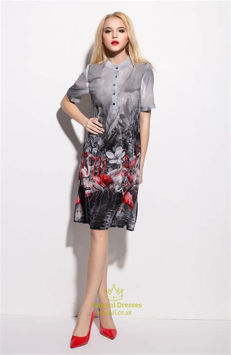 Floral Print Chiffon Shirt grey floral print chiffon shirt dress with sleeves