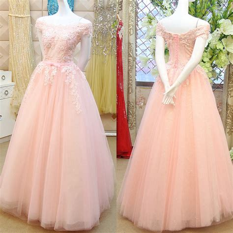 Drss 899 Dress Lace Pink pink princess prom dresses with lace appliques the