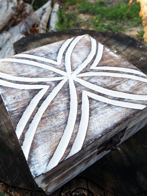 Handmade Wooden Jewellery - box wooden flower jewelry carved handmade antique vintage