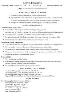 Resume Templates Customer Service by Resume For A Customer Service Representative Susan