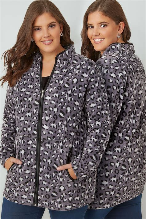 Check Finish Line Gift Card Balance - grey lightweight animal print zip through fleece plus size 16 to 36