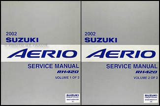 car repair manuals download 2002 suzuki aerio transmission control 2002 suzuki aerio repair shop manual 2 volume set original