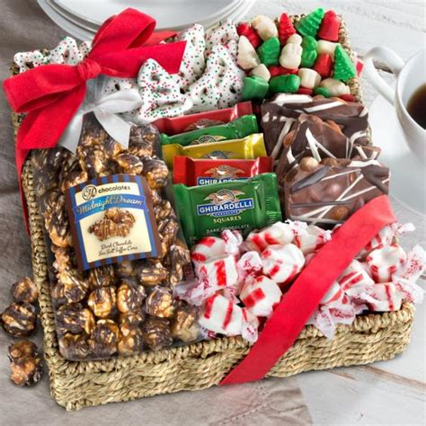 holiday classic chocolate candy and crunch gift basket
