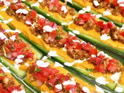 raw vegan taco cucumber boats - Cucumber Taco Boats