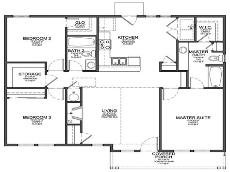 simple 4 bedroom house plans small 3 bedroom house floor