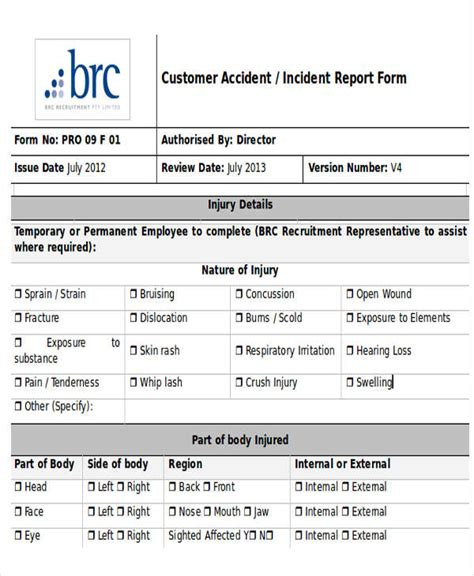 customer incident report form template 25 incident report templates in word free premium