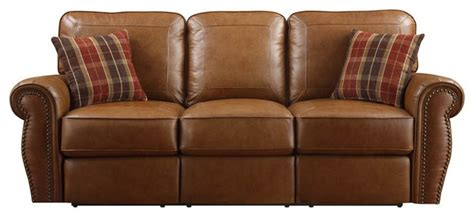 traditional reclining sofa terrell power reclining leather sofa by emerald home