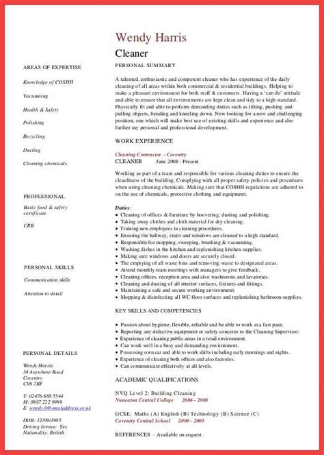 resume for cleaning person memo exle
