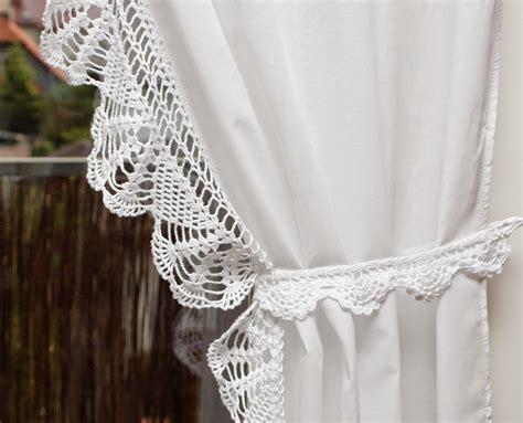 crochet curtain valance decoranna firany i lambrekin z szydełkową koronką