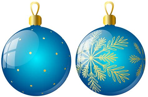 transparent two blue christmas balls ornaments clipart