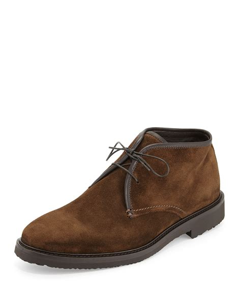 brown chukka boots ermenegildo zegna suede chukka boot in brown for lyst