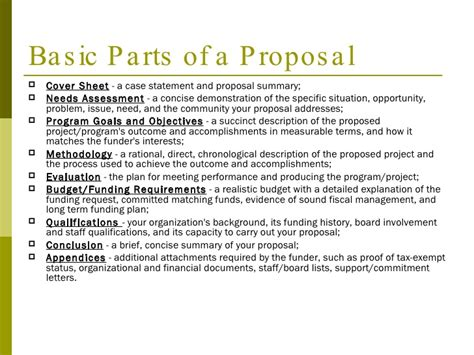 sections of a proposal a step by step guide to writing a grant proposal