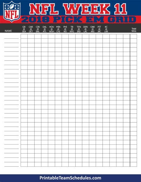 printable nfl schedule by week nfl weekly pick em grid week 11