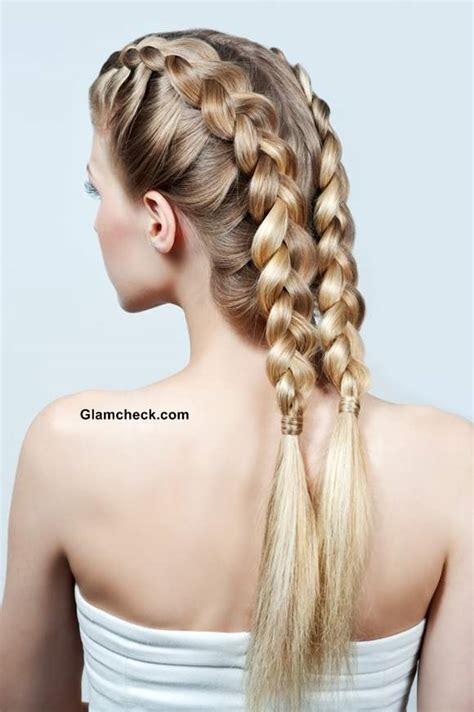 hairstyle with 2 shoulder braids how to make two row dutch braids and bun hairstyle
