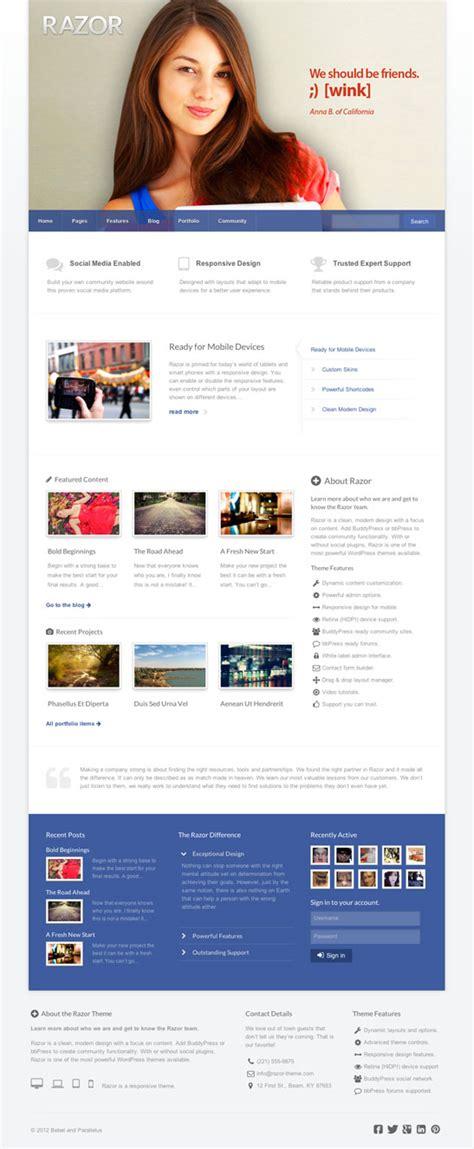 themes buddypress facebook razor wordpress the e facebook style community theme