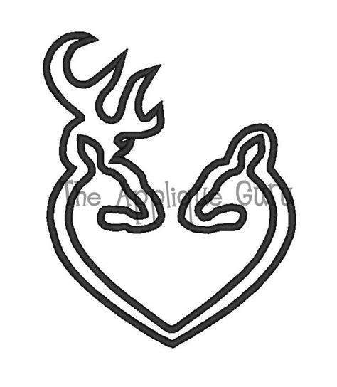 deer heart applique machine embroidery design