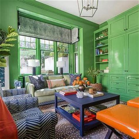 Living Room In Blue And Orange Apple Green Paint Design Ideas