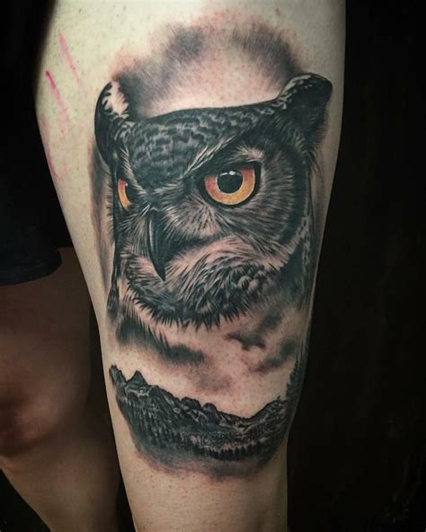 mystic owl tattoo realistic owl and mountains in black and gray by yarda