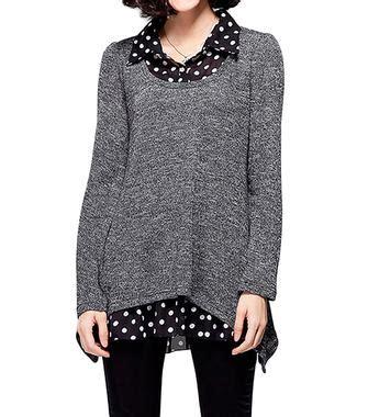 Blouse Atasan Louse Ring Knit Rs casual polka dot patchwork knit sleeve lapel blouse at banggood