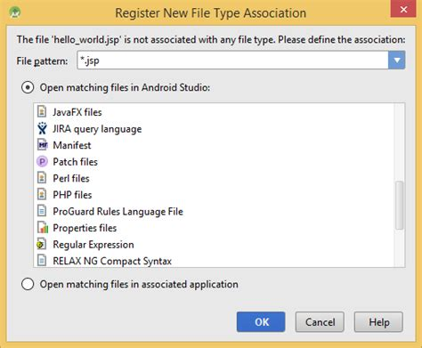 android file associations app engine what is the appropriate jsp file type association in android studio stack