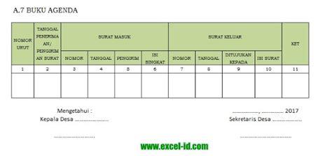 format buku agenda contoh format buku agenda surat masuk dan keluar dengan excel