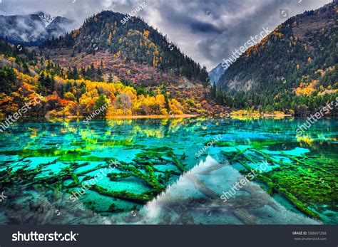 clearest lake in china facts amazing view clear water five stock photo 588607268
