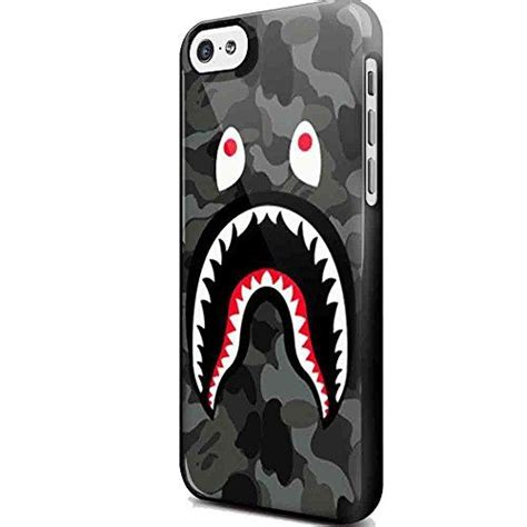 Iphone 5c Bape Shark Camo Pattern Hardcas bape shark black army pattern for iphone and samsung