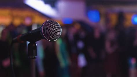Stand Up Comedy Mic by Microphone On Stage At A Concert Venue Stock Footage Video