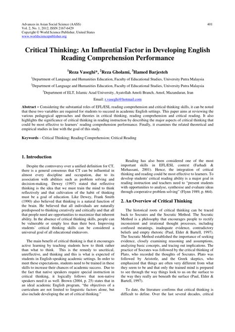 thesis abstract reading comprehension critical thinking an influential factor in developing