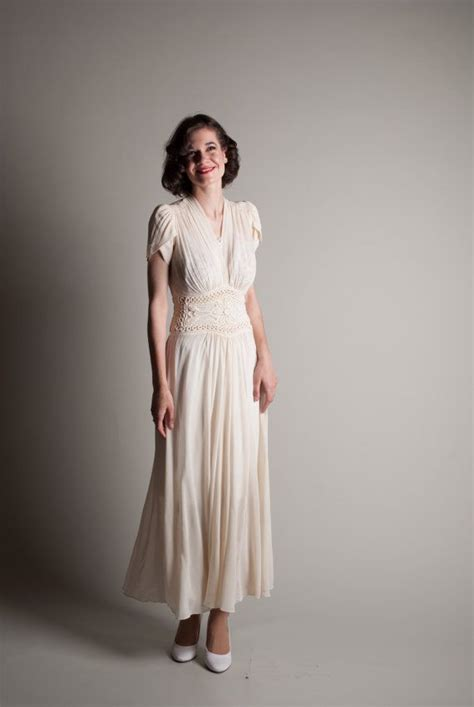 1940s Vintage Wedding Dresses by Vintage 1940s Chiffon Dress 40s Wedding Dress By
