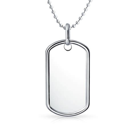 medium 1 5in classic sterling silver dog tag pendant