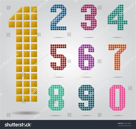 pattern of rectangular numbers rectangular shape gradient number set stock vector