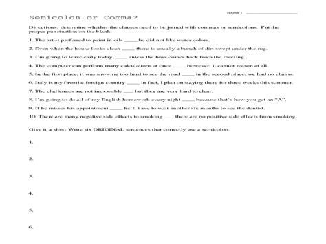 Semicolons Worksheet by Collection Of Commas And Semicolons Worksheet Ommunist
