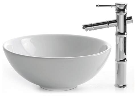 Kraus C KCV 141 1300 White Round Ceramic Sink and Bamboo Faucet   Modern   Bathroom Sinks   new