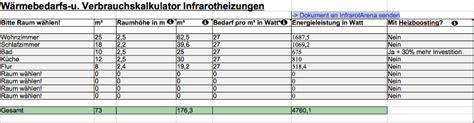Was Kostet Eine Infrarotheizung by Infrarotheizung Verbrauch F 252 R Strom Und Kosten Berechnen