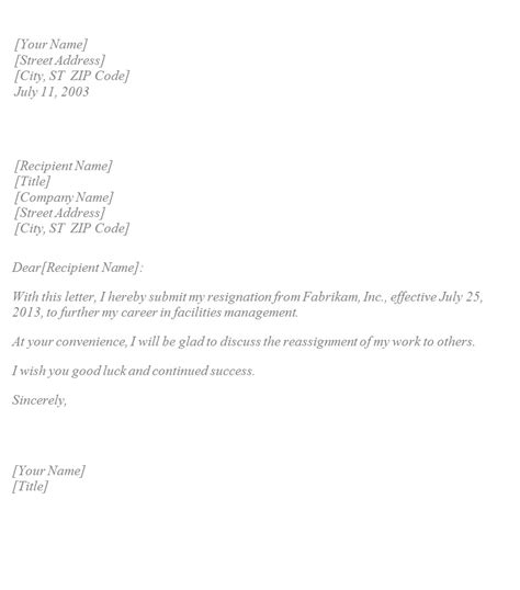 basic resignation letter template sle