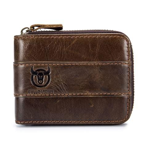 Genuine Leather Zip Wallet vintage rfid antimagnetic genuine leather 11 card
