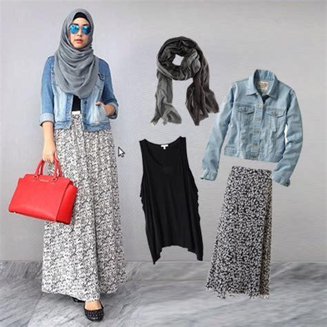 Suki Dress Maxi Bonita Mocca gaya berhijab dengan denim jacket