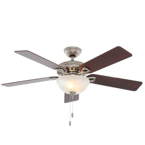 Ceiling Fan Brushed Nickel With Light Astoria 52 In Indoor Brushed Nickel Ceiling Fan With Light Kit 53058 The Home Depot